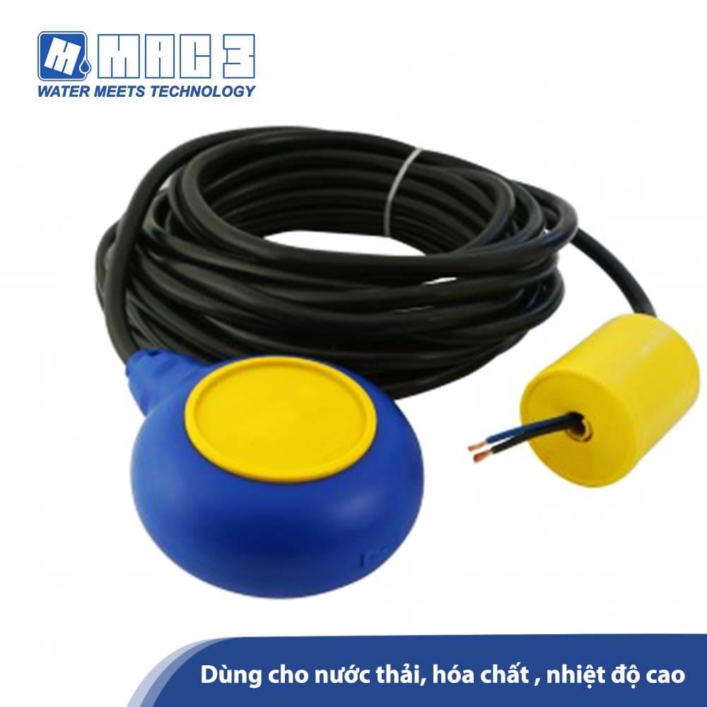 Phao mực nước MAC3,Cáp NEOP. H07BN-4F 3x1 (5 mét), Dùng cho nước thải, hóa chất,nhiệt độ cao